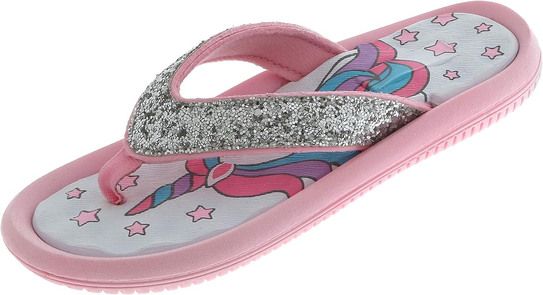 Capelli New York Girls Crunchy Glitter Faux Leather Fashion Flip Flops