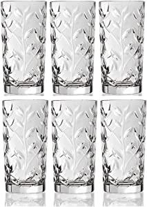 Crystal Highball Glasses [Set of 6] Drinking Glasses for Water, Juice, Beer, Wine, and Cocktails Tall Clear Heavy Base Bar Glass With Leaf/Twig Design, | 12 Ounces