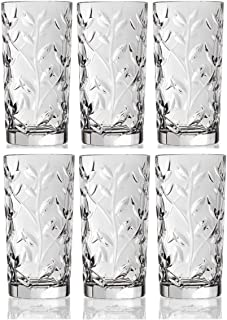 Crystal Highball Glasses [Set of 6] Drinking Glasses for Water, Juice, Beer, Wine, and Cocktails Tall Clear Heavy Base Bar Glass With Leaf/Twig Design,   12 Ounces