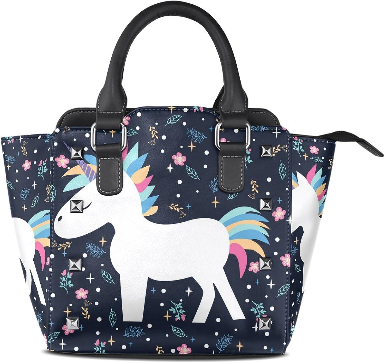 My Little Nest Women's Top Handle Satchel Handbag Beautiful Cartoon Unicorn Floral Ladies PU Leather Shoulder Bag Crossbody Bag
