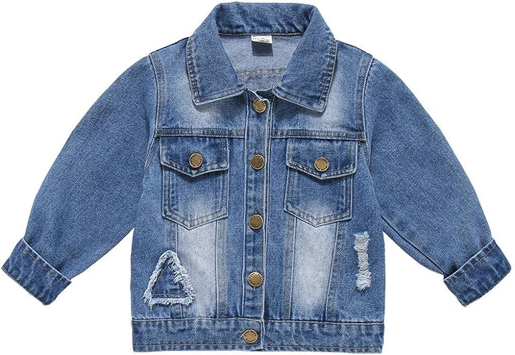 Kehen- Girls' Boys' In stock Max 52% OFF Basic Denim Jacket Kid Button Little Down Je