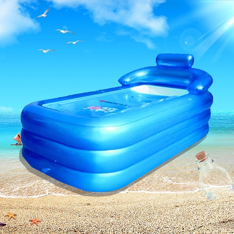 Bathtub Folding Insulation Inflatable Adult Plus Thicker Bath Bath Bath Bath Bath Bath Warm Standby (color   bluee1)