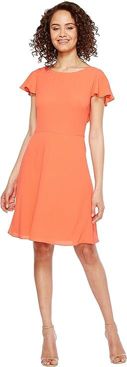 Crepe Dress w/ Shoulder Ruffle