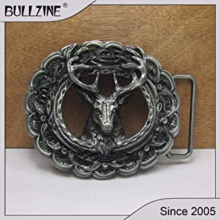 Buckes - Wholesale Deer Belt Buckle with Pewter Finish FP-02454 Suitable for 4cm Width Belt