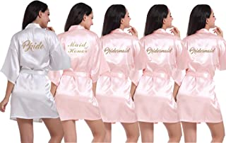 Set of 3-12 Women's Kimono Robes with Gold Glitter for Bridesmaid and Bride,Wedding Party Getting Ready Short Robe