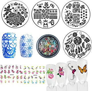 Nail Art Stamping kits, Nail Stamping Template Plates + Clear Stamper + Scraper, 3D Mixed Nail Decoration Rhinestone Rivet Studs Pearl, DIY Accessories Tools (Bi015A)