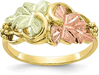 10k Tri Color Black Hills Gold Flower Band Ring Size 7.00 Flowers/leaf Fine Jewelry Gifts For Women For Her