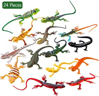 24 Pieces Artificial Model Reptile Lizard Colorful Plastic Lizards Toy Action Figure Educational Toys for Kids Adults Gifts, 12 Designs