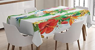 """Ambesonne Watercolor Flower Tablecloth, Tropical Christmas Bouquet Tropical Hibiscus Blossoms Leaf Butterfly, Dining Room Kitchen Rectangular Table Cover, 60"""" X 84"""", Green White"""