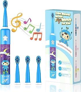 Musikalische Elektrische Zahnbürste für Kinder, Wiederaufladbare Intelligent Karikatur Zahnbürste für Kinder Alter 3-12 mi...