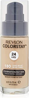 Revlon ColorStay Liquid Foundation Makeup for Combination/Oily Skin SPF 15, Longwear Medium-Full Coverage with Matte Finish, Sand Beige (180), 1.0 oz
