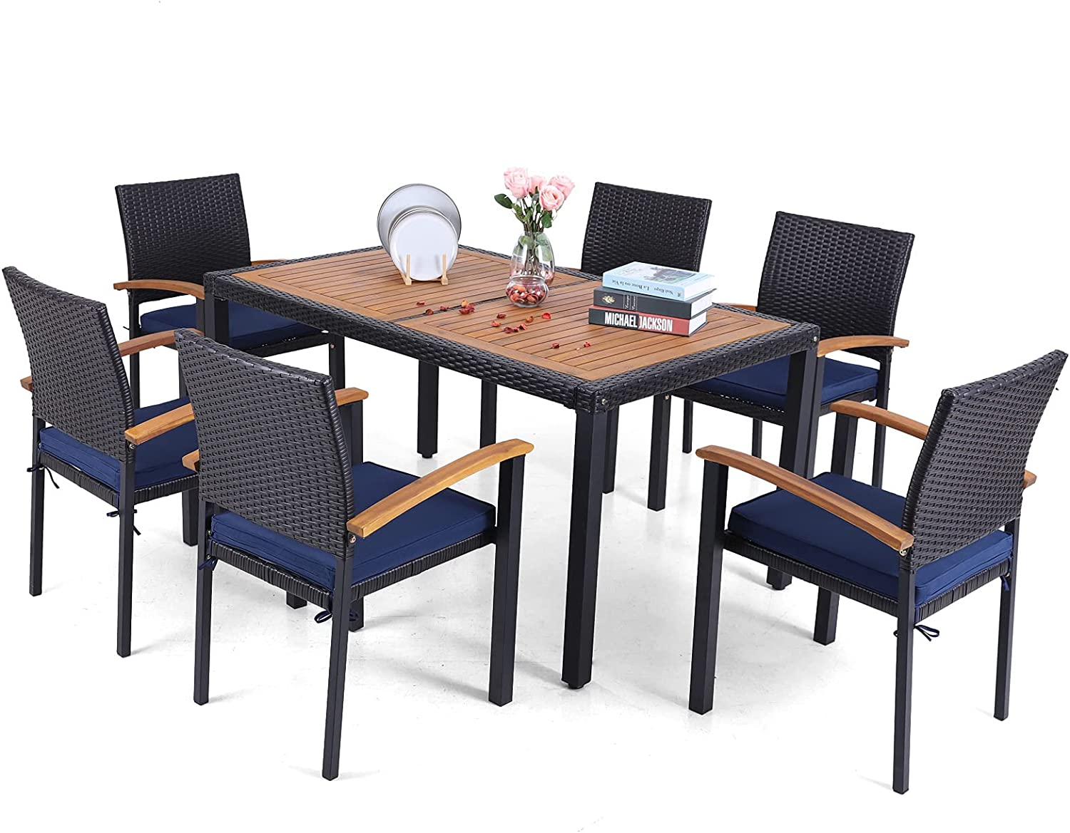 Sophia & William Patio 7 Pieces Dining Set with 6 PE Rattan Chairs & 1 Rectangle Acacia Wood Table, Modern Outdoor Wicker Chairs and Table Furniture with Cushions for Porch Backyard Balcony Poolside