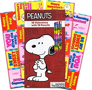 Peanuts Snoopy Box 16 Valentine Cards w 16 Pencils