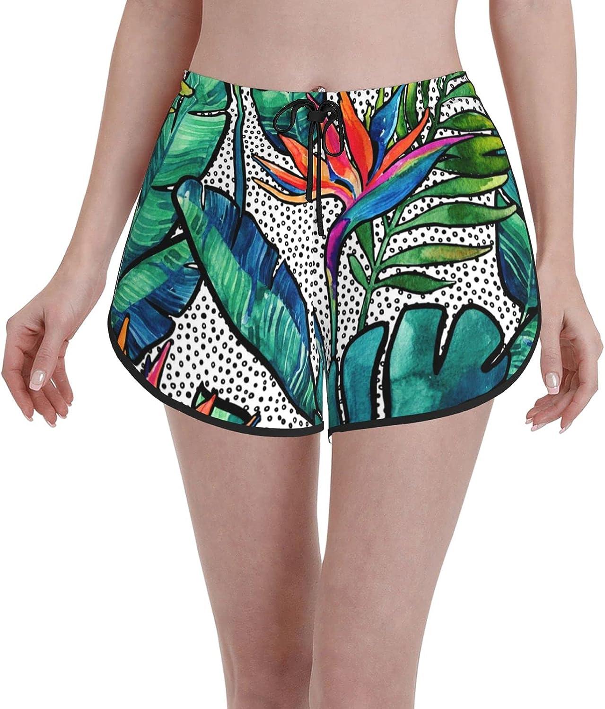 LINSHANGYI Watercolor Leaves Women Quick Board Dry Shorts S Outstanding 100% quality warranty! Swim