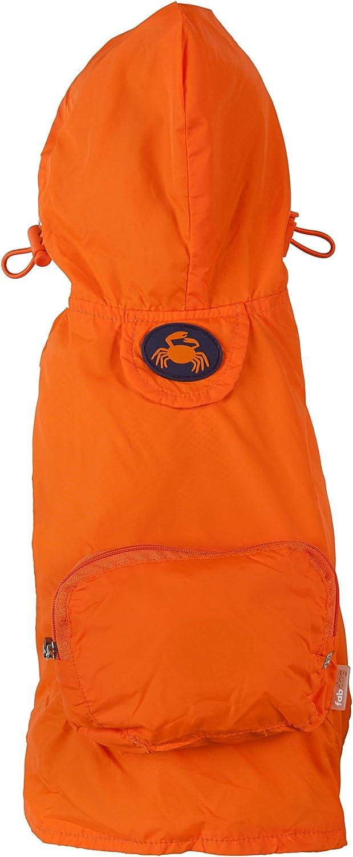 Fab Dog Crab Pocket Travel Dog RaincoatRain Jacket for Dogs, orange, Large
