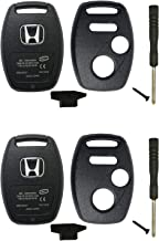 2 Pcs Replacement Key Fob Shell Case Fit for Honda 2010-2011 Accord Crosstour /2006-2011 Civic/ 2007-2013 CR-V / 2011-2015 CR-Z / 2009-2013 Fit / 2011-2014 Odyssey 3 Buttons Car Key Fob Cover Casing