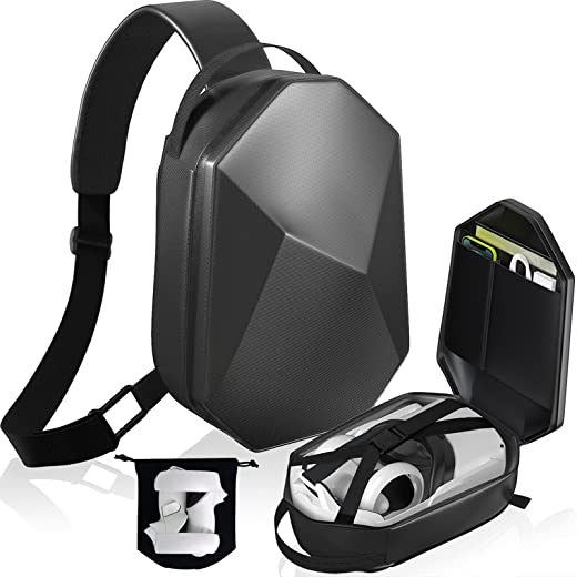 Carrying Case for Oculus Quest 2, Hard Travel Case for Oculus Quest 2 VR Headset and Controllers Acessories Protective Crossbody Shoulder Chest Backpack Fit for Elite Strap with Storage Bag