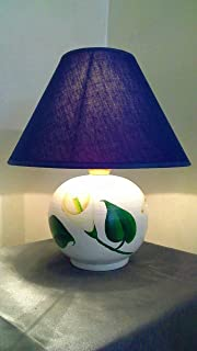 Le Ceramiche Del Re, Lampada Ceramica da Tavolo, Lampada da Comodino Decorativa con Paralume, Decorata con Fiori calle, H ...