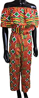 Women's African Print Kente Off The Shoulder Jumpsuit with Head Wrap