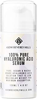 ASDM Beverly Hills 100% Pure Hyaluronic Acid Serum 4oz 60ml, Anti-Aging Intense Hydration Tightening Face Firming Serum, Vegan Nasha Grade, Wrinkle Remover, Improve Skin Elasticity Collagen Production
