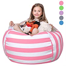 100/% Cotton Canvas Blue Stripe Bean Bag Cover for Organizing Kids Room POKONBOY Stuffed Animal Bean Bag Storage Extra Large Stuffed Animal Storage Stuffed Many Animals Bean Bag Chairs for Kids