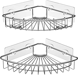 SMARTAKE 2-Pack Corner Shower Caddies, Stainless Steel Adhesive Bathroom Shelf with Hooks, Wall Mounted Storage Organizer Racks for Shower, Kitchen, Toilet and Dorm