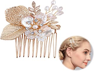 Meiysh Vintage Flower and Leaf Inspiration Wedding Hair Comb Headpiece for Brides-Top-Selling Wedding Hair Accessories,gold (A)