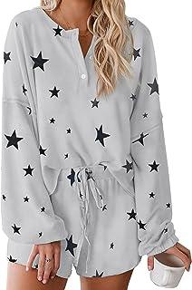 Zando Womens 2 Piece Tie Dye Pajamas Shorts Set Lounge Sets Long Sleeve Loungewear Matching Sets for Women Cotton PJS