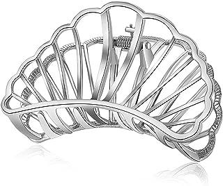 ACCGLORY Metal Hair Claw Hollow Silver Fan Hair Clip for Women (Fan-Silver)