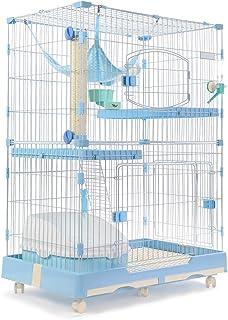 [Amazonブランド] Umi.(ウミ)猫 ケージ ペットゲージ キャットケージ スチール製 扉付き 2段 3段 広々 多頭飼い 組立 引き出しトレー付き 室内飼い おしゃれ M ブルー