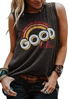 7a6903ba113545 Women Good Vibes Rainbow Graphic Funny Cami Tank Tops Sleeveless Vest Shirt  Tee