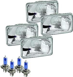 Parts N Go 4x6 Rectangular Plain Conversion Headlights Halogen H4 Bulb Set - H4656, H4651