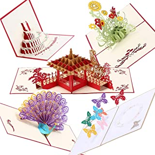 3D Happly Birthday Handmade Pop Up Greeting cards for Xmas Thanksgiving Festival Birthday Anniversary Holiday Cards 5 Pack