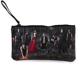 Vampire Diaries - Porte-monnaie en toile - Pour voyage, maquillage, stylos - Avec fermeture éclair - Pour étudiants, femme...