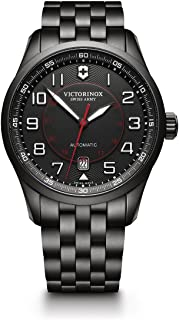 Victorinox Men's Airboss Black Edition Automatic-self-Wind Aviator Watch with Stainless-Steel Strap, 21 (Model: 241740)