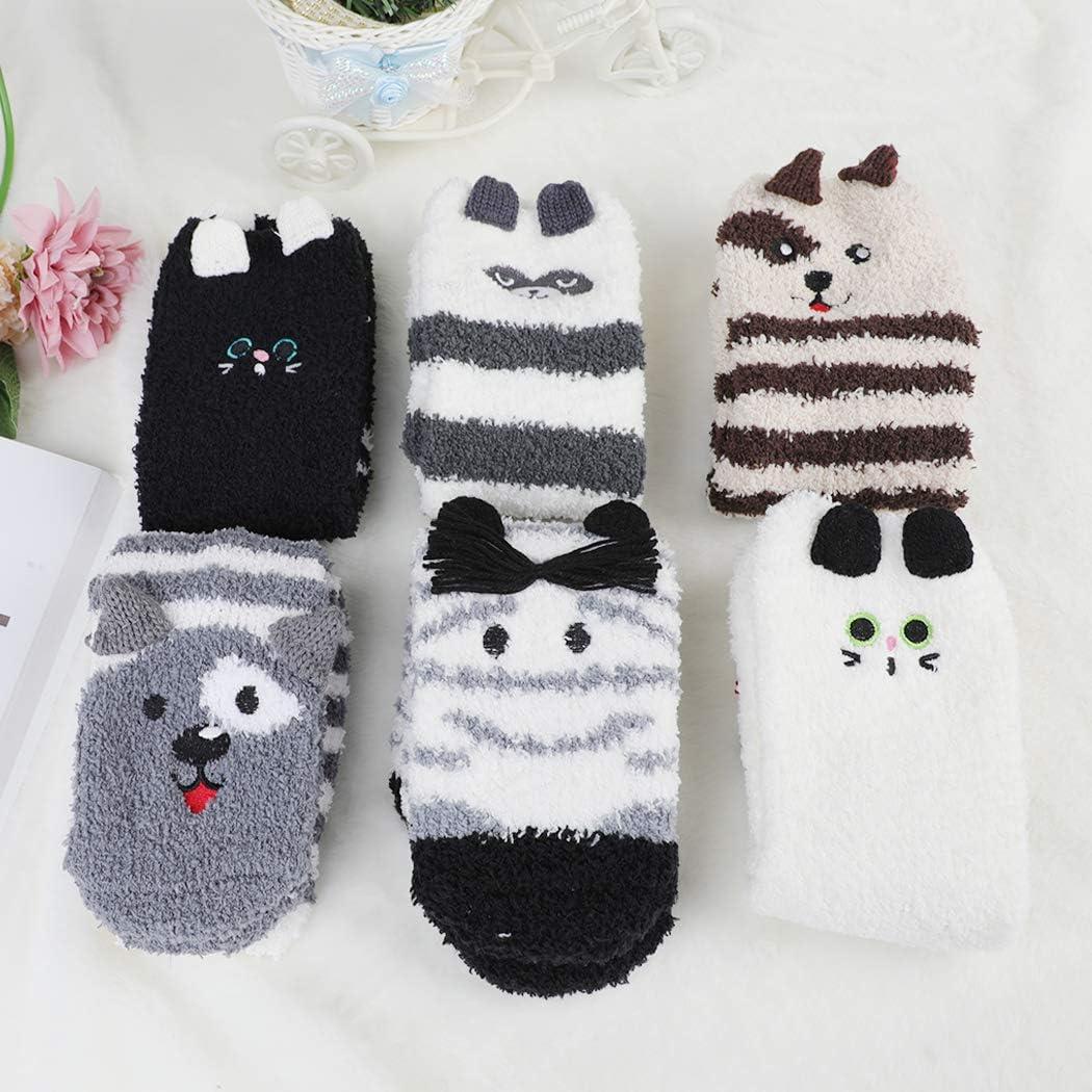 Fascigirl 6 Pair Slipper Socks Women Christmas Socks Winter Funny Bed Socks Cosy Ladies Christmas Socks Deer Moose Socks