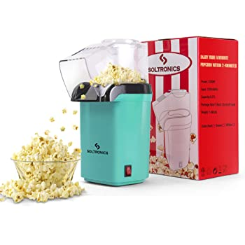 SOLTRONICS Hot Air Popcorn Popper for Home, Popcorn Maker Machine with Removable Measuring Cup, ETL Certified, BPA-Free, No Oil, 16 Cups, Quick Healthy Snack for Kids Adults, 1200W, Green