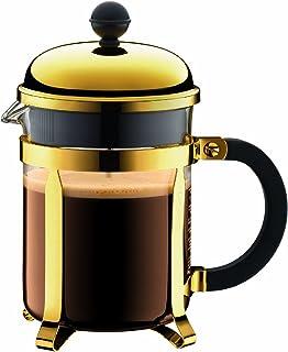 Bodum Chambord kaffebryggare 4 koppar med metallram, krom, guld, 10,5 x 16,6 x 19 cm