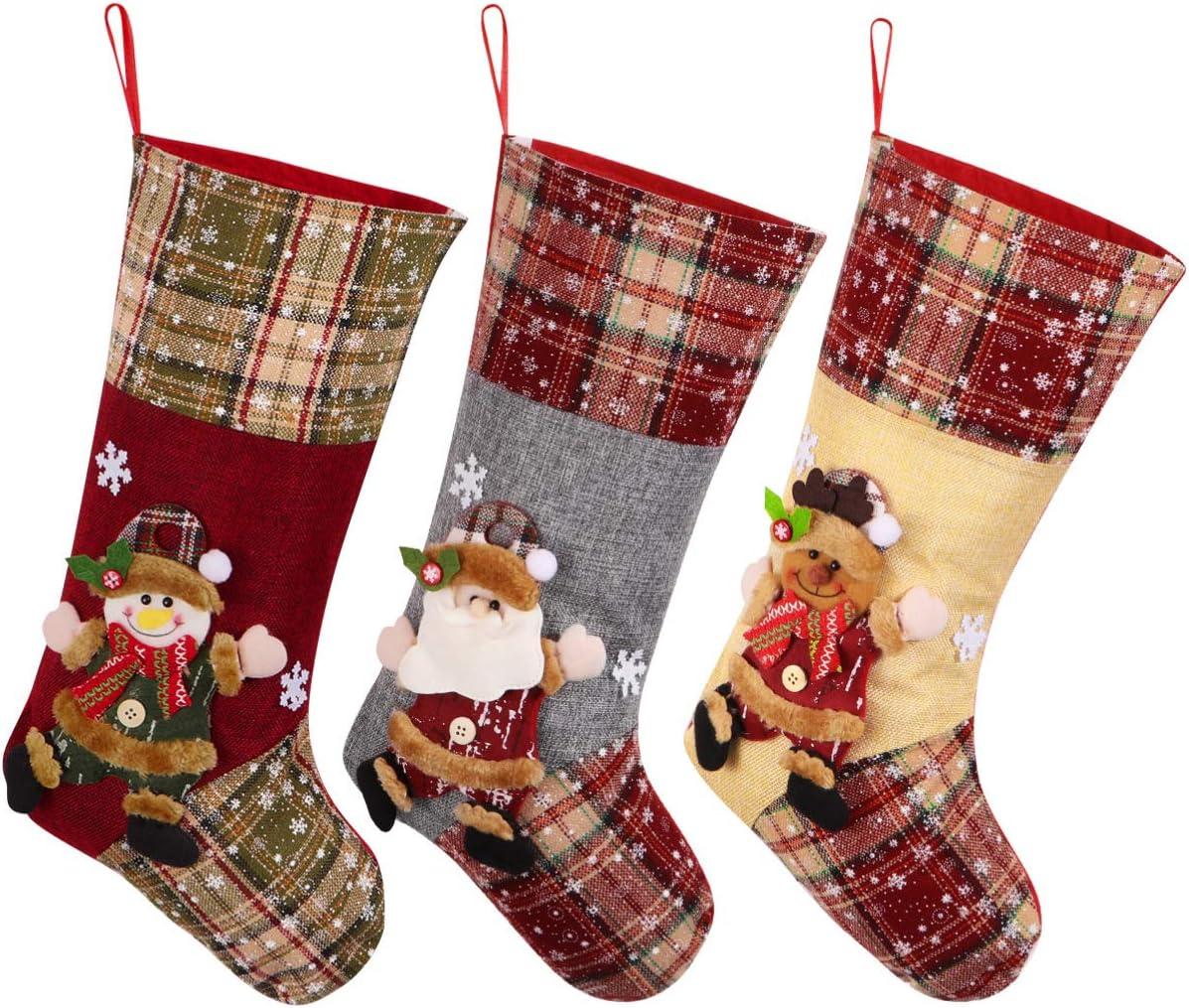 Toyvian Christmas Ranking TOP13 Stocking Gift Bag 3D Santa Plush lowest price Snowman Sock