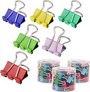 Mitening Pinces Double Clip, Lot de 180 Foldback Pinces Papier Métal Binder Clips Reliure Coloré Clip, Dovetail Pinces Dou...