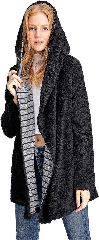 Mystree Stripe Lined Shawl Hoodie Coat