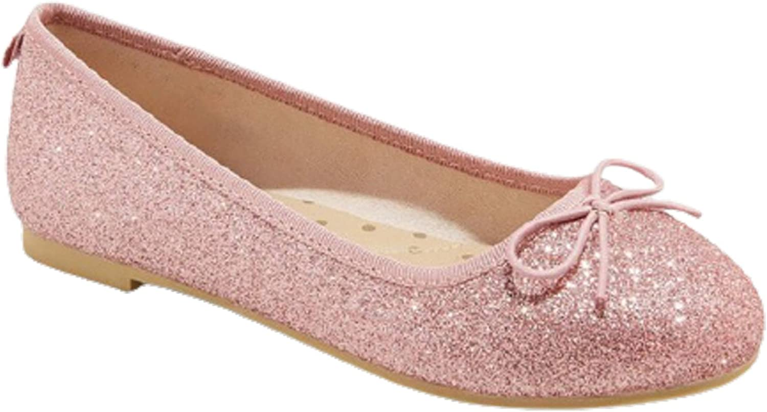 Girl's Glittering Sparkle Slip-On Ballet Flats - Pink Casual Chic (Pink, Numeric_2)
