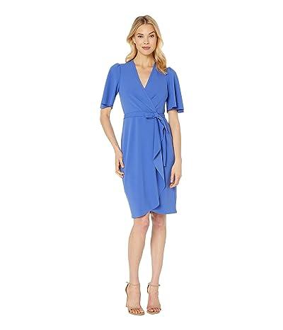 Donna Morgan Crepe Faux Wrap w/ Flutter Sleeve (Acrylic Blue) Women