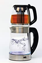 Tea/Coffee maker, Smart Double cordless electric Kettle set with glass teapot and S/S infuser, LED indicator, temperature ...