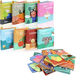 Lictin Baby First Cloth Book-8 Pcs Nontoxic Fabric Baby Soft Book Set Baby Cloth Activity Crinkle Soft Books for Infants E...