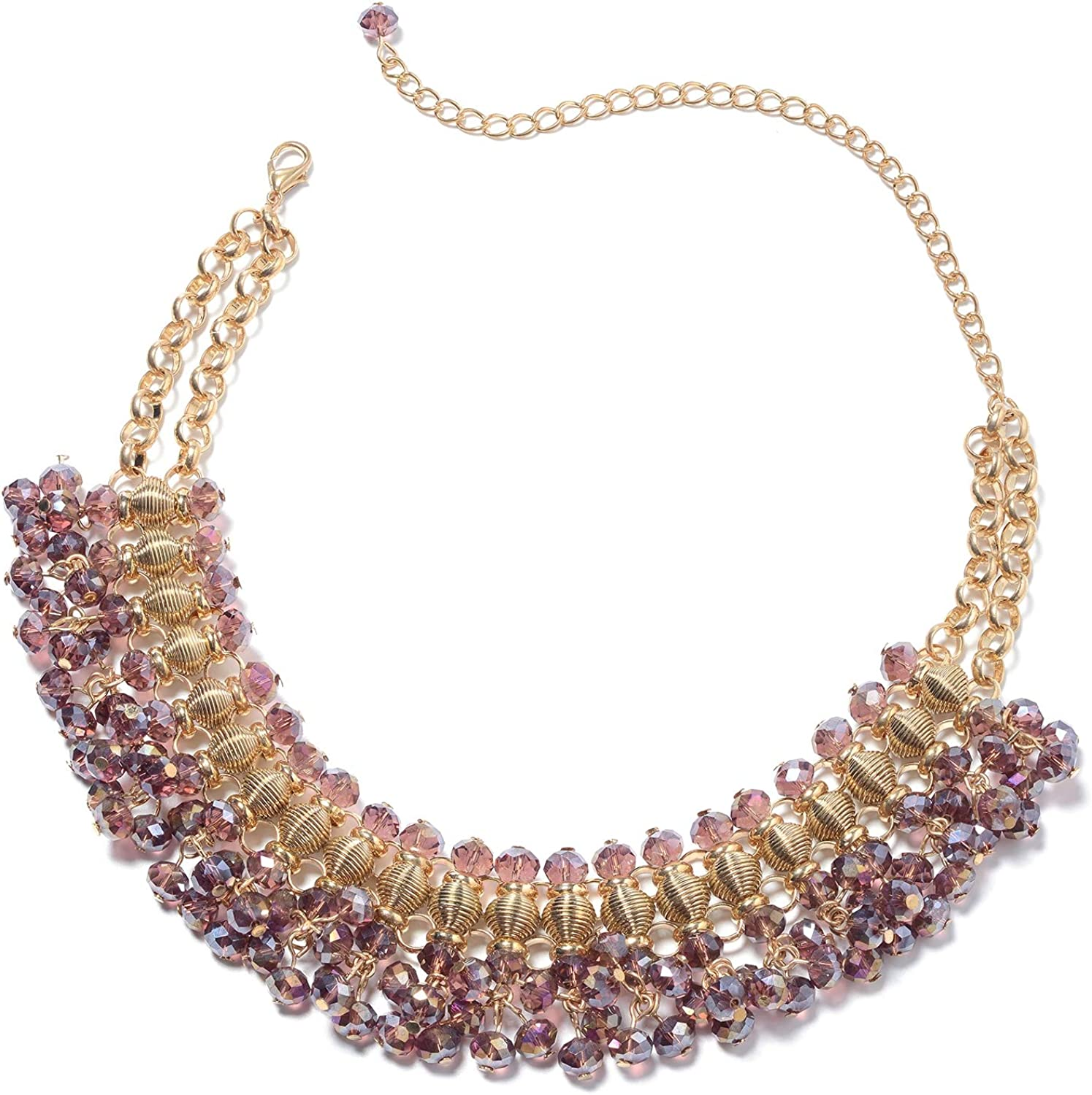 Shop LC Glass Gold Plated Bib Choker Statement Necklace for Women Delicate Jewelry Gifts (Blue/Purple/Champagne/Peacock)