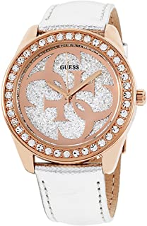 Guess G Twist Silver Dial Leather Strap Ladies Watch W0627L9