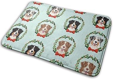 Australian Shepherds Mixed Coats Christmas Wreath Dog Breed Blue_27363 Doormat Entrance Mat Floor Mat Rug Indoor/Outdoor/Fron