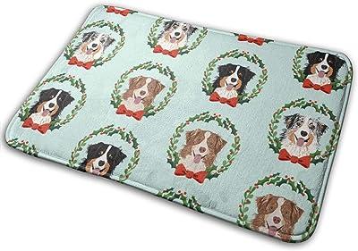 """Australian Shepherds Mixed Coats Christmas Wreath Dog Breed Blue_27363 Doormat Entrance Mat Floor Mat Rug Indoor/Outdoor/Front Door/Bathroom Mats Rubber Non Slip 23.6"""" X 15.8"""""""