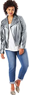 Roamans Women's Plus Size Crop Moto Jacket
